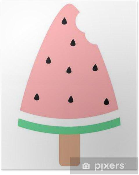 cute watermelon bitten ice cream vector illustration Poster - Food