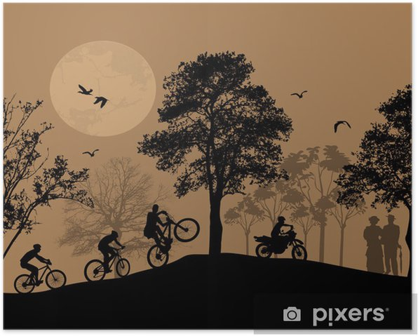 Cyclists silhouettes on beautiful landscape Poster - Backgrounds