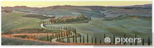 Poster Cypress Toscane in de prachtige landschappen van de ondergaande zon. - Thema's