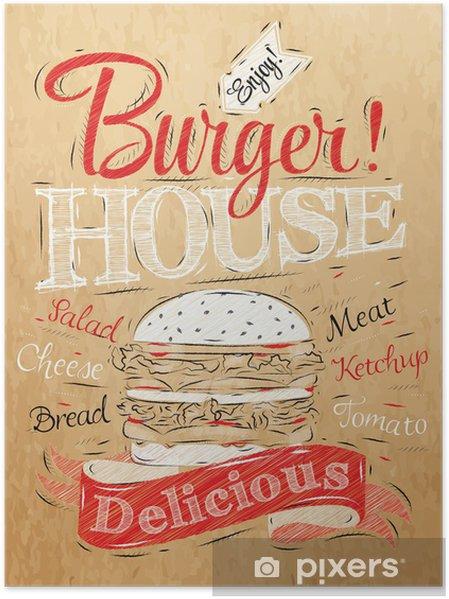 Poster D'affiche de lettrage Burger House peint avec un hamburger et inscr - Concepts