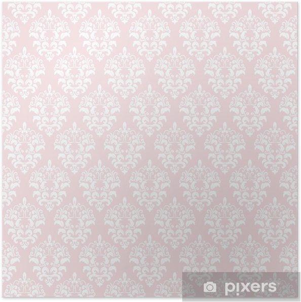 Poster Damast naadloze patroon achtergrond in pastel roze. - Grafische Bronnen
