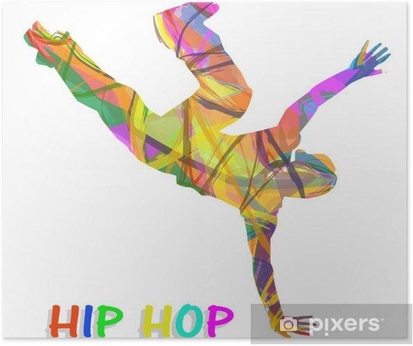 Poster Danseur composée de couleurs qui dansent le hip-hop - Sports individuels