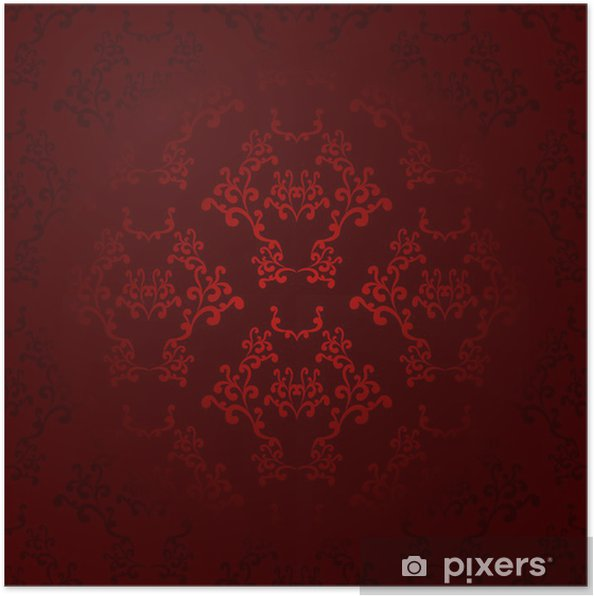 Dark And Light Red Seamless Wallpaper Background Pattern Design Poster