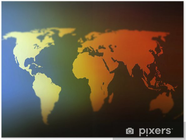 Day And Night World Map Selective Focus Poster Pixers We Live