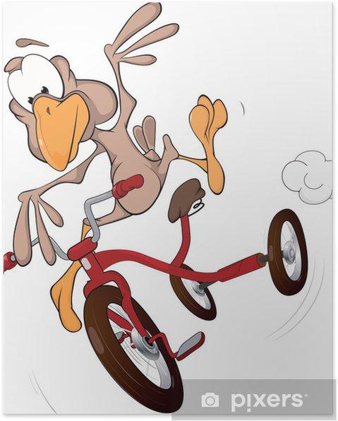 Poster De belachelijke baby vogel gaat op een fiets - Vogels
