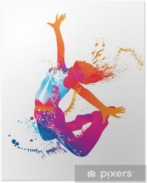 Poster De dansende meisje met kleurrijke vlekken en spatten op wit - Bestemmingen