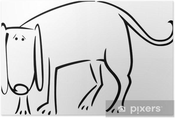 Póster De dibujos animados dibujo de perro triste para colorear ...