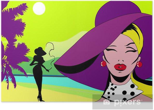 Poster De Glamour Dame Op Grote Paarse Hoed Op Zeekust Pop Art Stijl Pixers We Leven Om Te Veranderen