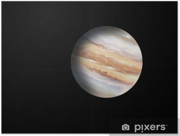 Poster De illustratie van de planeet Jupiter op de achtergrond van sterren - Ruimte