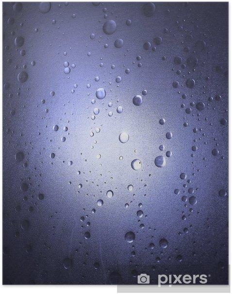 Poster De lumière à travers la porte de douche - bleu - Abstrait