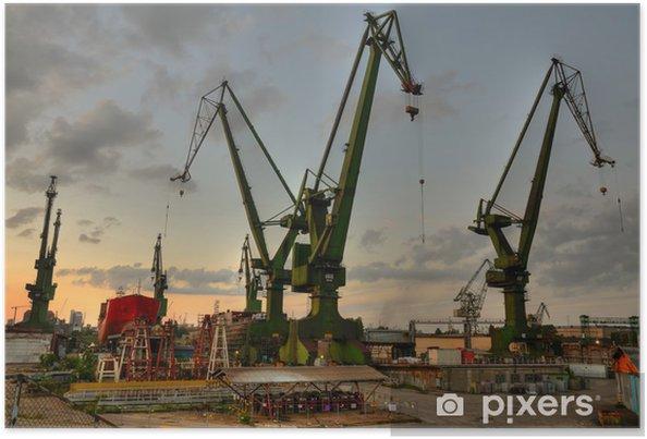 Poster De scheepswerf van Gdansk kranen op zomeravond - Thema's