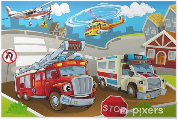 Poster De voertuigen in de stad, stedelijke chaos - Bestemmingen