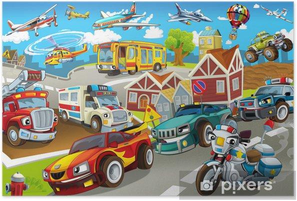 Poster De voertuigen in de stad, stedelijke chaos - Onderweg