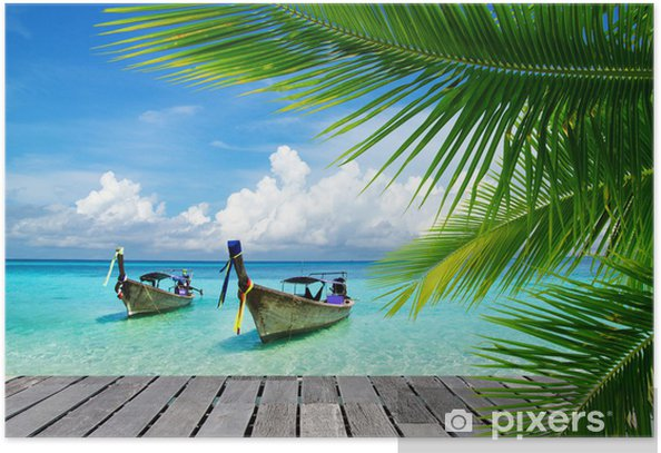 Deck with a view of a tropical sea Poster - Bestsellers