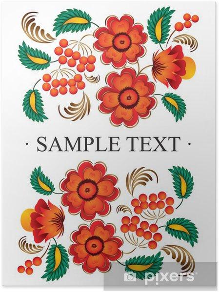 Poster Décor folklorique de fleurs - Asie