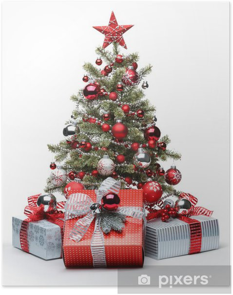 Decorated Christmas tree and gifts Poster - Christmas