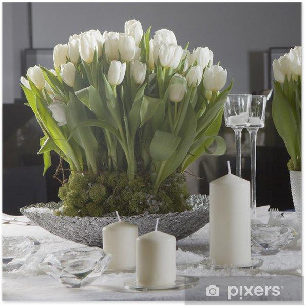 Beste Poster Decoratie van eettafel voor Valentijnsdag. Witte tulp OJ-15
