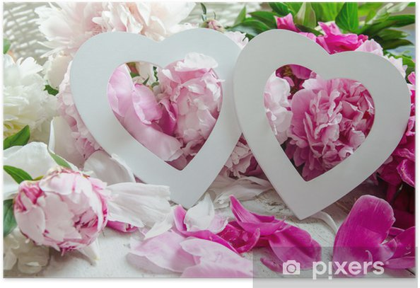 Poster Décoration de mariage: Deux coeurs et pivoines :) - Célébrations