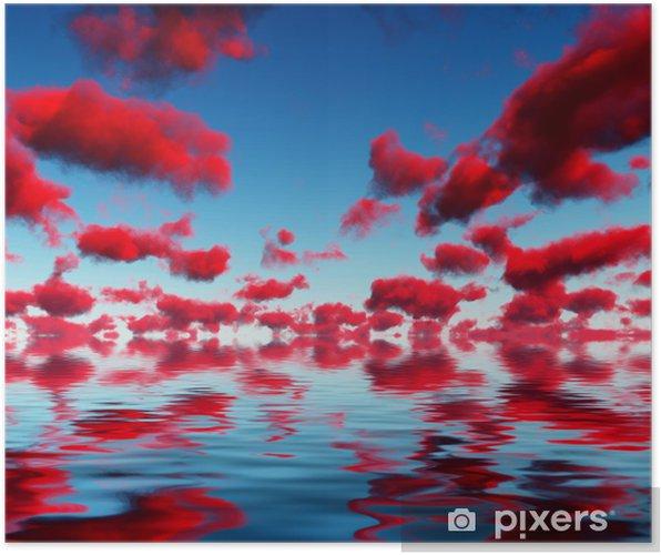 Poster Deep Red Wolken en reflecties - Thema's
