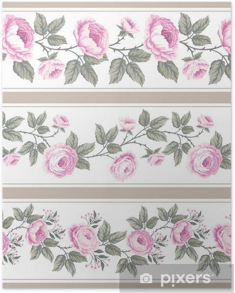 Poster Définir des frontières florales sans soudure avec des roses - Plantes et fleurs
