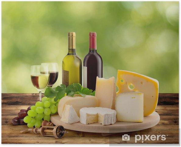 Poster Dégustation de vins et fromages à la campagne - Fromage