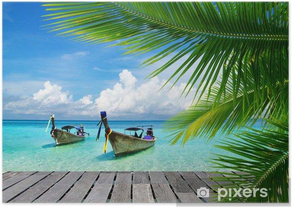 Poster Dek met uitzicht op een tropische zee - Bestverkocht