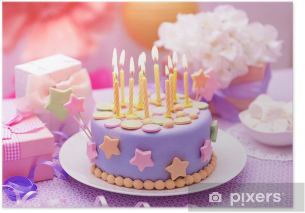 Delicious Birthday Cake On Table Bright Background Poster