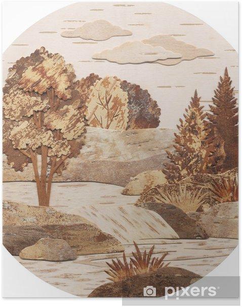 Poster Demande, une rivière avec des chutes - Saisons