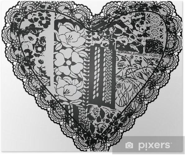 Poster Dentelle motif de broderie - Fleurs