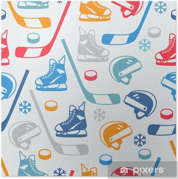 Póster Deportes sin patrón, con iconos planos del equipo de hockey. - Conceptos de negocios