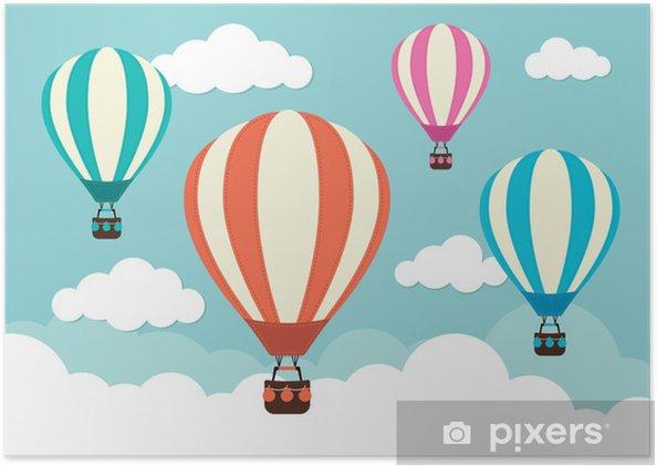 Poster Des ballons et des nuages d'air chaud - Dans les airs