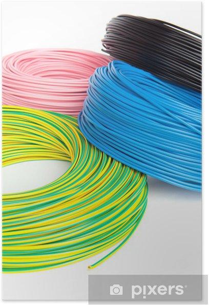 Poster Des câbles électriques dans la bobine - Internet et réseaux