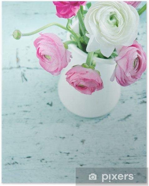 Poster Des fleurs de couleurs pastel sur fond shabby chic