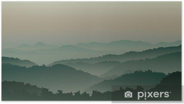 Poster Des montagnes vertes dans le brouillard - Montagne
