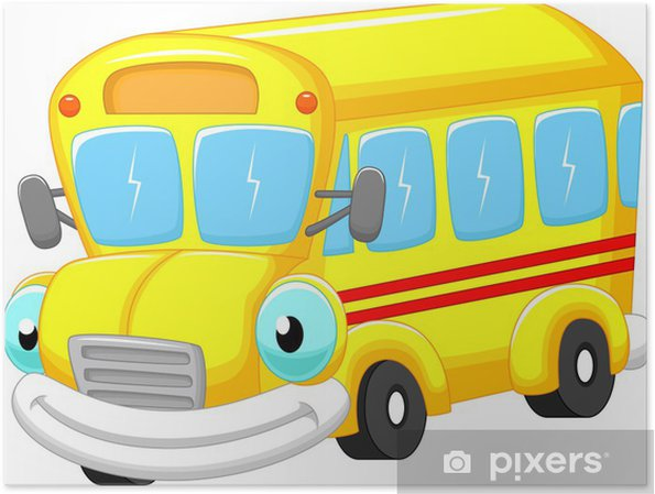 Poster Dessin Animé Autobus Scolaire