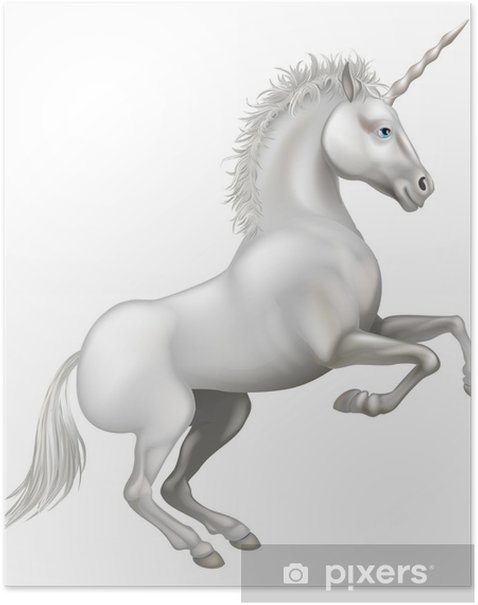 Poster Dessin animé licorne - Animaux imaginaires