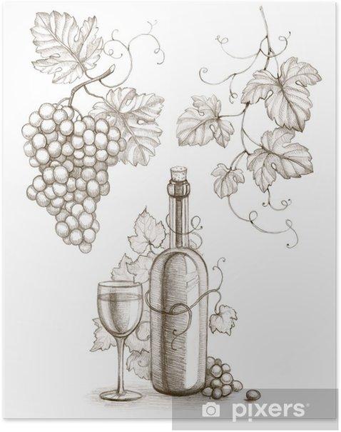 Poster Dessin au crayon de bouteille de vin et de raisin - Sticker mural