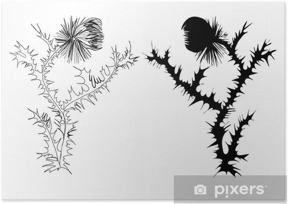poster dessin chardon noir et blanc et la silhouette pixers nous vivons pour changer. Black Bedroom Furniture Sets. Home Design Ideas