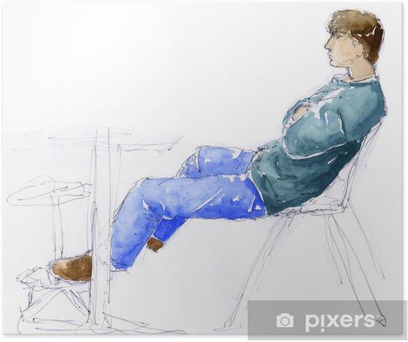 5027a85e54 Poster Dessin d'un homme assis au bureau avec les mains jointes -