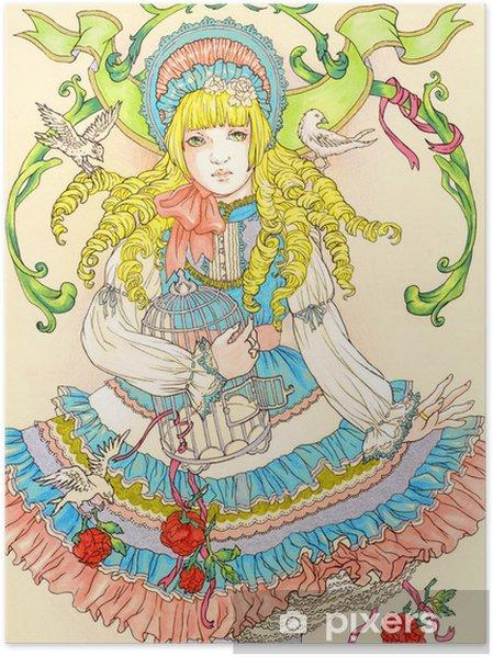 Poster Dessin D Une Princesse Aux Cheveux D Or Illustration D Une Jeune