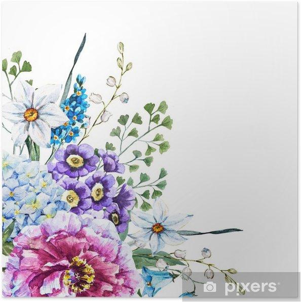 Poster Dessinés à la main des fleurs à l'aquarelle - Plantes et fleurs