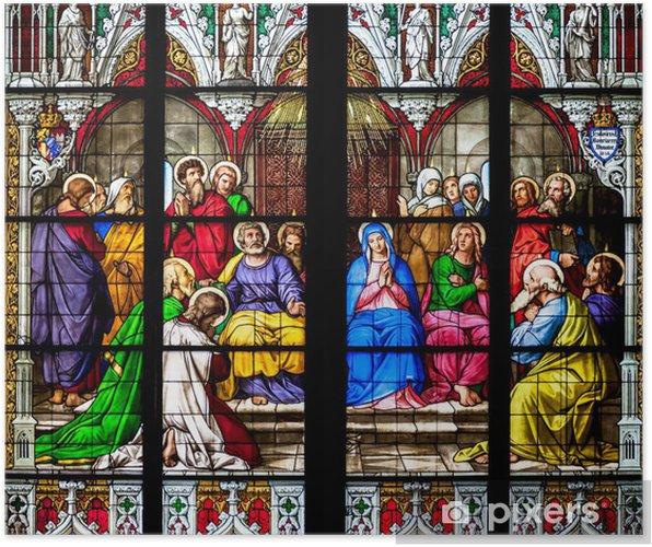 Poster Détail de la fenêtre de vitraux - Europe