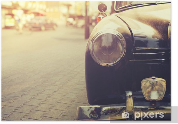 Detail of headlight lamp classic car parked in urban - vintage filter effect style Poster - Transport