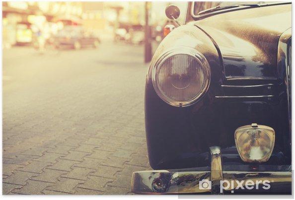 Poster Detail van koplamp lamp klassieke auto geparkeerd in stedelijke - vintage filter effect stijl - Transport