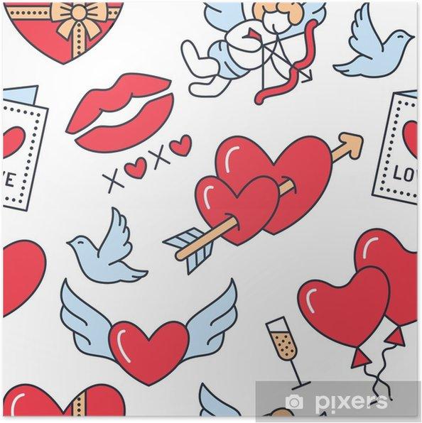 Póster Día de San Valentín de patrones sin fisuras. amor, iconos de ...