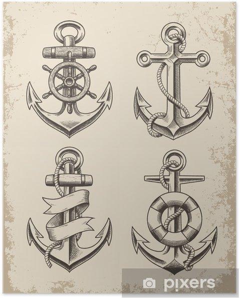Póster Dibujado a mano Anchor Set - Señales y símbolos