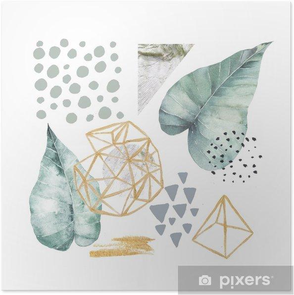 Póster Dibujado a mano ilustración con elementos de acuarela y mármol. diseño escandinavo. - Recursos gráficos