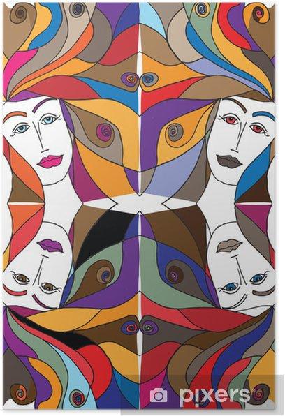 Póster Dibujo abstracto de la cara de mujer. Ilustración del vector. - Moda