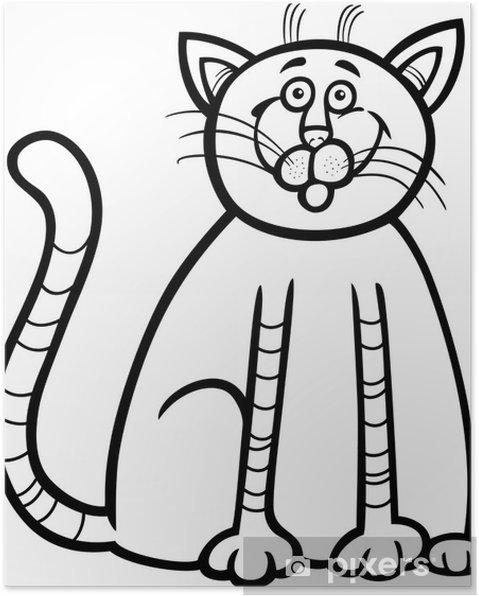 Póster Dibujo Animado Del Gato Feliz De Libro Para Colorear Pixers