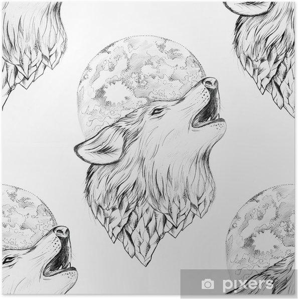 Póster Dibujo Inconsútil De Un Lobo Que Grita En La Luna En Un Fondo